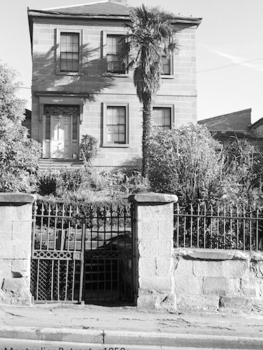 Black and white photograph of two storey-ashlar sandstone house, built by Alexander Orr by 1845
