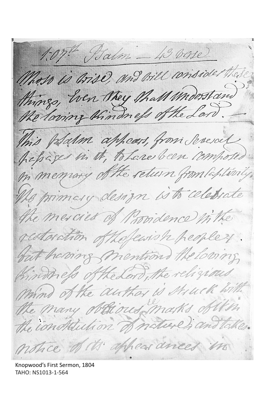 A photograph of the first sermon written and delivered by Reverend Robert Knopwood in 1804. Courtesy of Tasmanian Archive and Heritage Office.